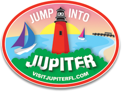 Jump into Jupiter Logo design with boats and green grass